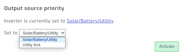 Adjust inverter output source priority in SolarAssistant