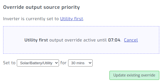 Output source override active in SolarAssistant